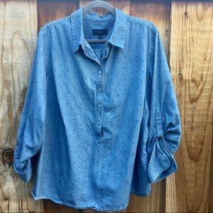 Talbots Plus Size Polka Dot Chambray Pop Over 2X